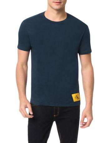 Camiseta-Calvin-Klein-Jeans-Etiqueta-Ck-Marinho