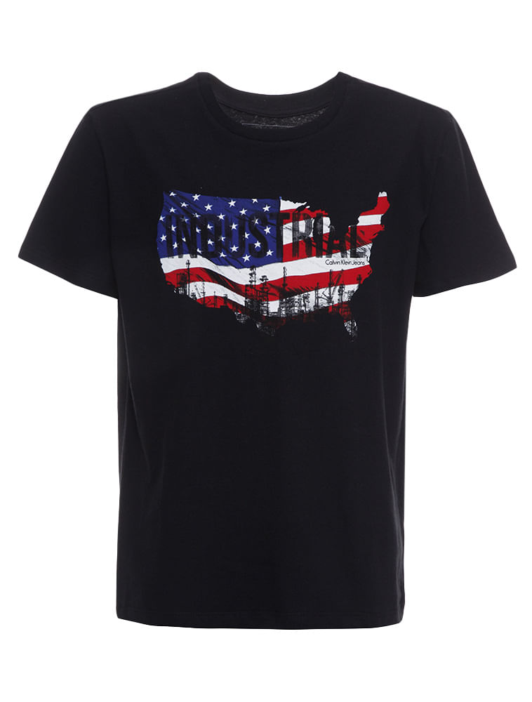 6c6832fbeb082 Camiseta Infantil Calvin Klein Jeans Bandeira Industrial Preto ...