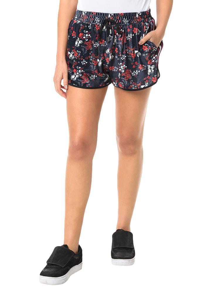 ee6916e3b85a9 Shorts Calvin Klein Jeans Veludo Floral Marinho - Calvin Klein