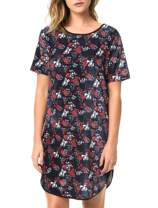 Vestido-Calvin-Klein-Jeans-Veludo-Floral-Marinho