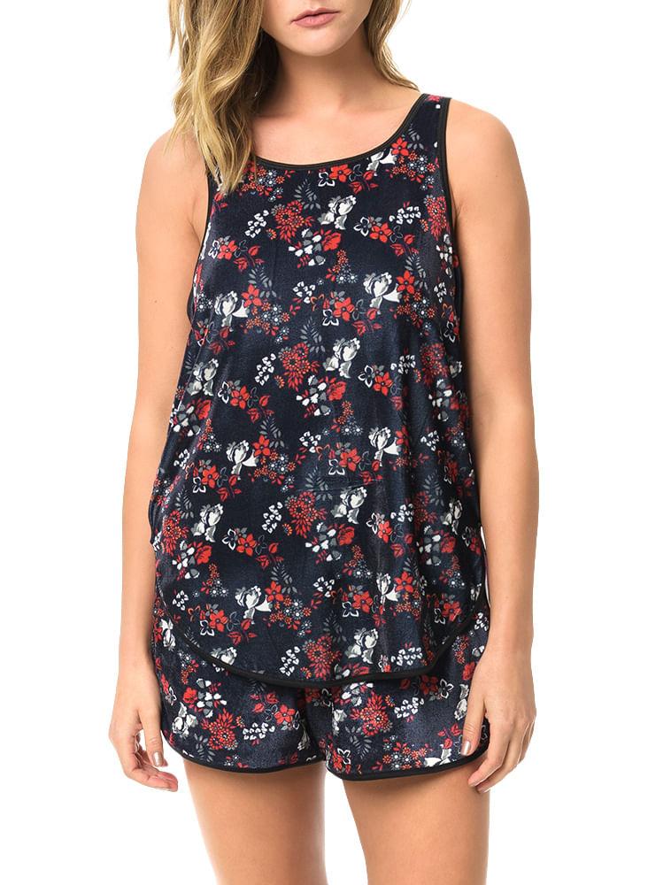 fa7627693247e Blusa Calvin Klein Jeans Veludo Floral Marinho - Calvin Klein