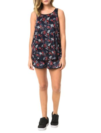 Blusa-Calvin-Klein-Jeans-Veludo-Floral-Marinho