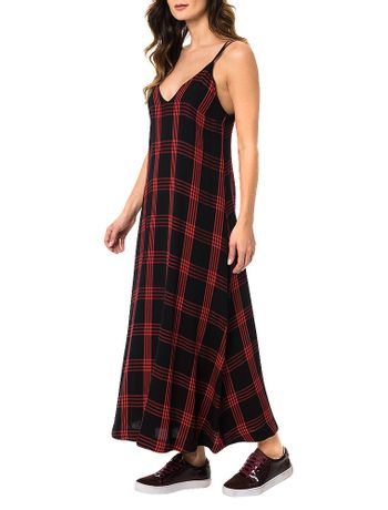 Vestido-Calvin-Klein-Alca-Midi-Xadrez-Vermelho