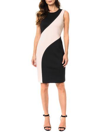 Vestido-Calvin-Klein-Com-Recorte-Bicolor-Preto