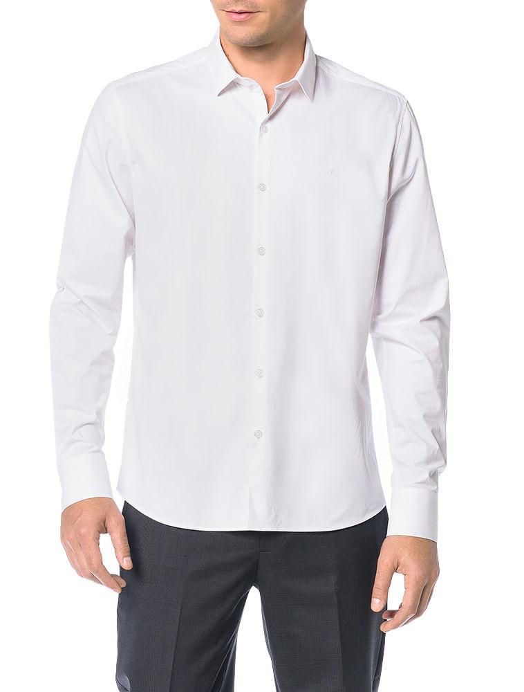 62d1112b88 Camisa-Basica-Regular-Calvin-Klein-Cannes-De-Algodao-Branco. Loading zoom