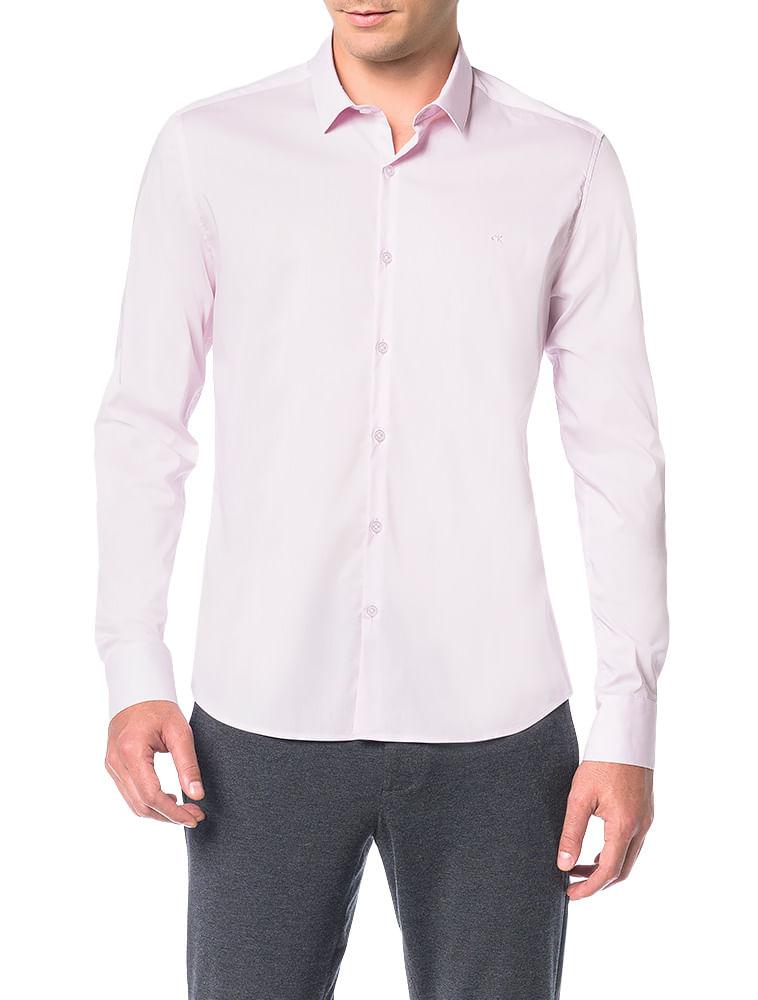 758672835397d Camisa Slim Calvin Klein Cannes Toque Suave Rosa Claro - Calvin Klein