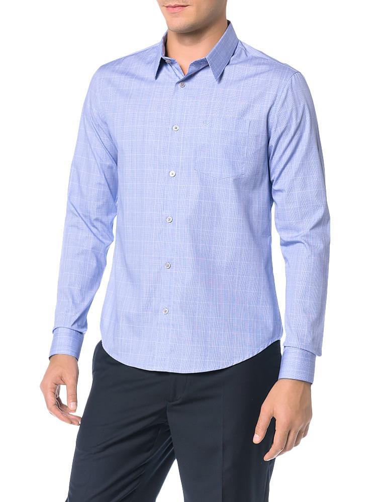 4497728d6c582 Camisa-Slim-Calvin-Klein-Geneva-Bolso-Principe-Galles-Azul-Carbono. Loading  zoom