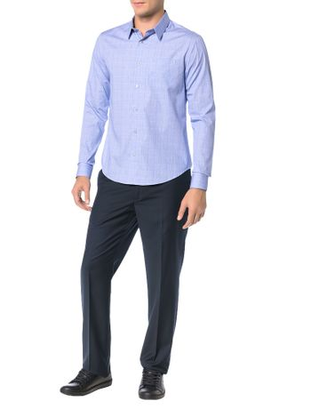 Camisa-Slim-Calvin-Klein-Geneva-Bolso-Principe-Galles-Azul-Carbono