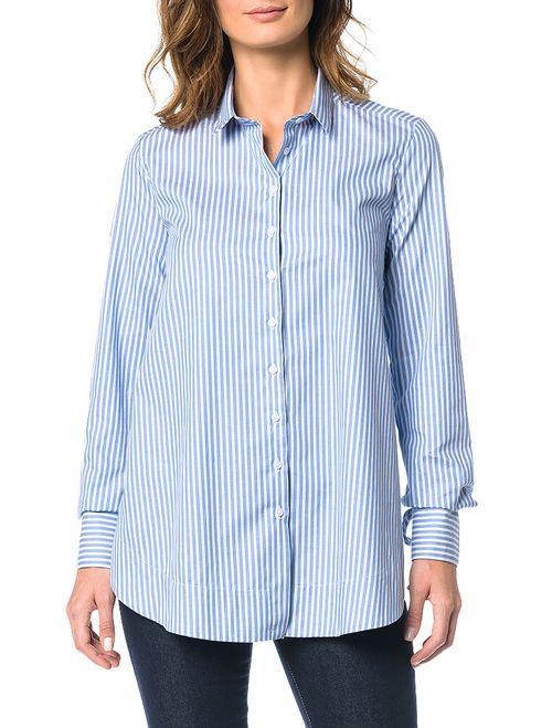 Camisa Calvin Klein Com Amarração Azul Claro