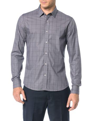 Camisa-Slim-Calvin-Klein-Fio-Egipcio-Punho-Chanfrado-Cinza-Medio
