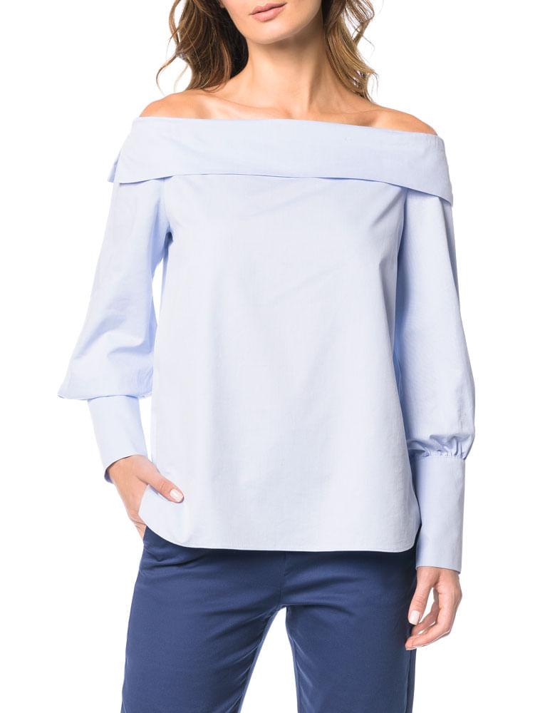 Camisa Ombro a Ombro Calvin Klein Azul Claro - Calvin Klein 1f9c6a3045ef4