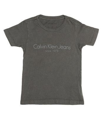 Camiseta-Infantil-Calvin-Klein-Jeans-Estampa-Institucional-Grafite