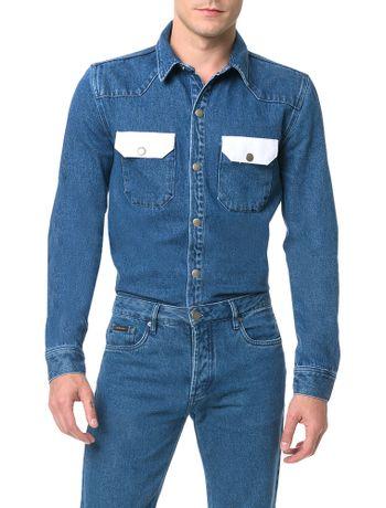 Camisa-Calvin-Klein-Jeans-Manga-Longa-Azul-Medio
