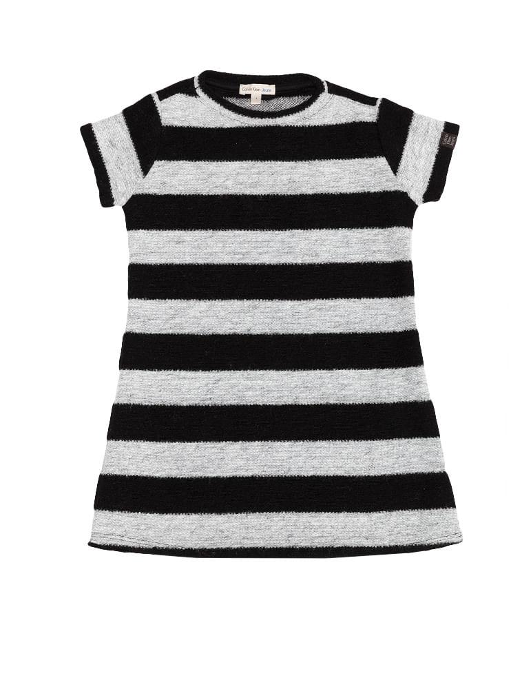 0a3edca0c1b5 Vestido Infantil Listrado Calvin Klein Jeans Preto - Calvin Klein