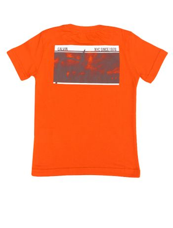 Camiseta-Infantil-Calvin-Klein-Jeans-Estampa-Frente-Costas-Laranja