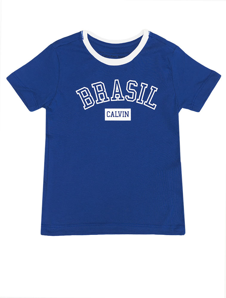 a8bd39687b144 Camiseta Infantil Calvin Klein Jeans Estampa Copa Azul Carbono ...
