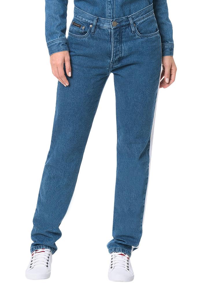 Calça Calvin Klein Jeans 5 Pockets Straight High Azul Médio - Calvin ... ea5f4b6124