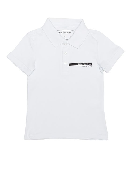 Polo-Infantil-Calvin-Klein-Jeans-Estampa-Logo-Horizontal-Branco
