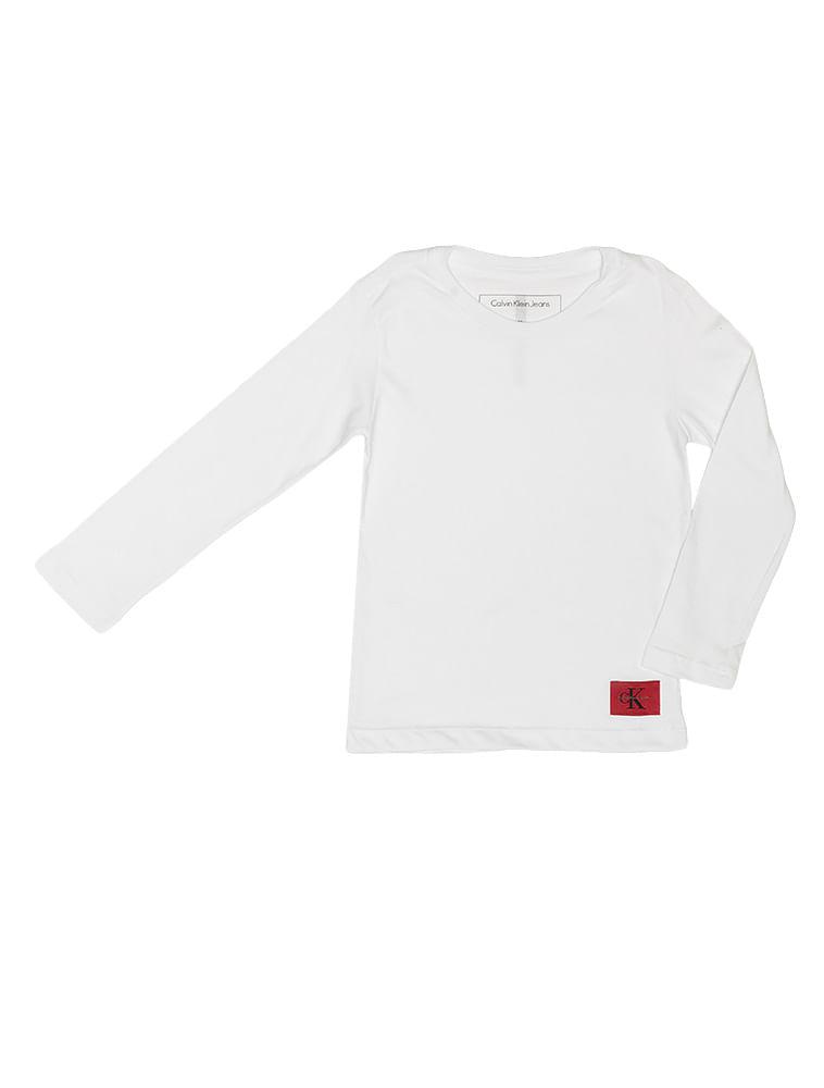 Camiseta Infantil Calvin Klein Jeans Etiqueta Logo Branco - Calvin Klein 75ec096ec46