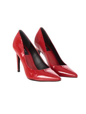 Sapato-Scarpin-Calvin-Klein-Jeans-Verniz-Couro-Vermelho