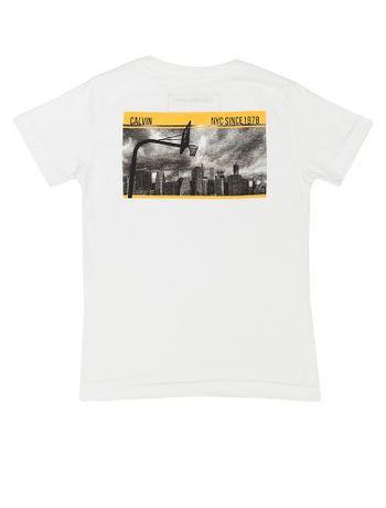 Camiseta-Infantil-Calvin-Klein-Jeans-Estampa-Frente-Costas-Branco