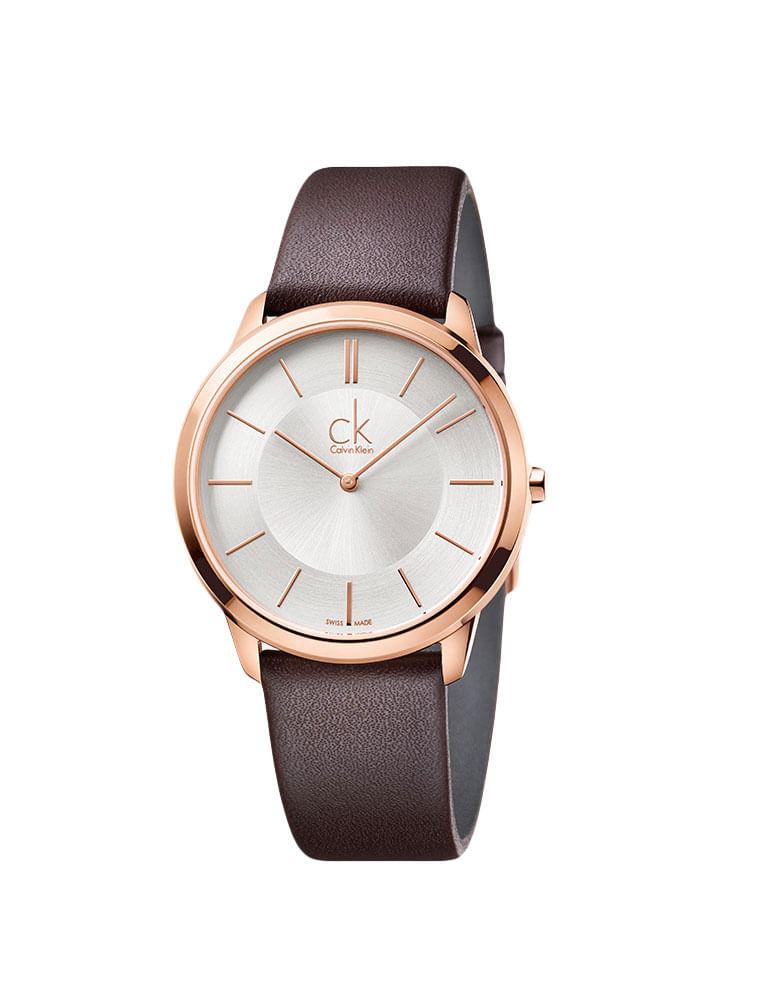 Relógio Calvin Klein Prata Com Pulseira De Couro Marrom - Calvin Klein 77f3fbfc47