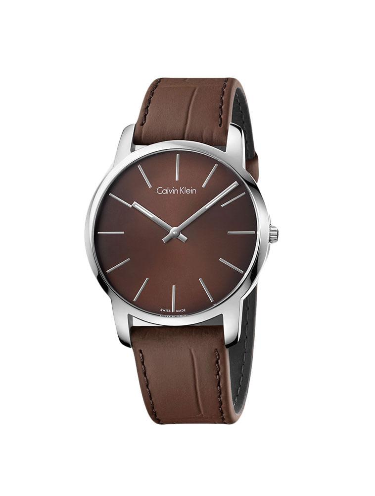 Relógio Calvin Klein Pulseira De Couro Marrom - Calvin Klein 3dc9b1b4e6