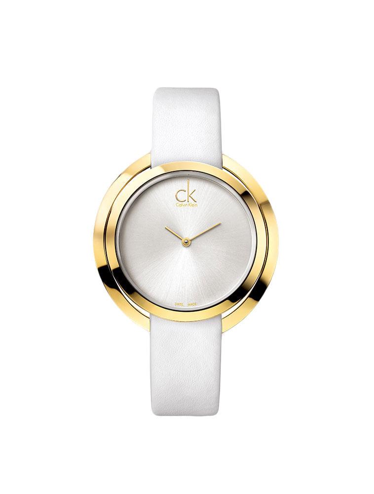 4d2f4d08dc1 Relógio Calvin Klein Pulseira De Couro Branco - Calvin Klein