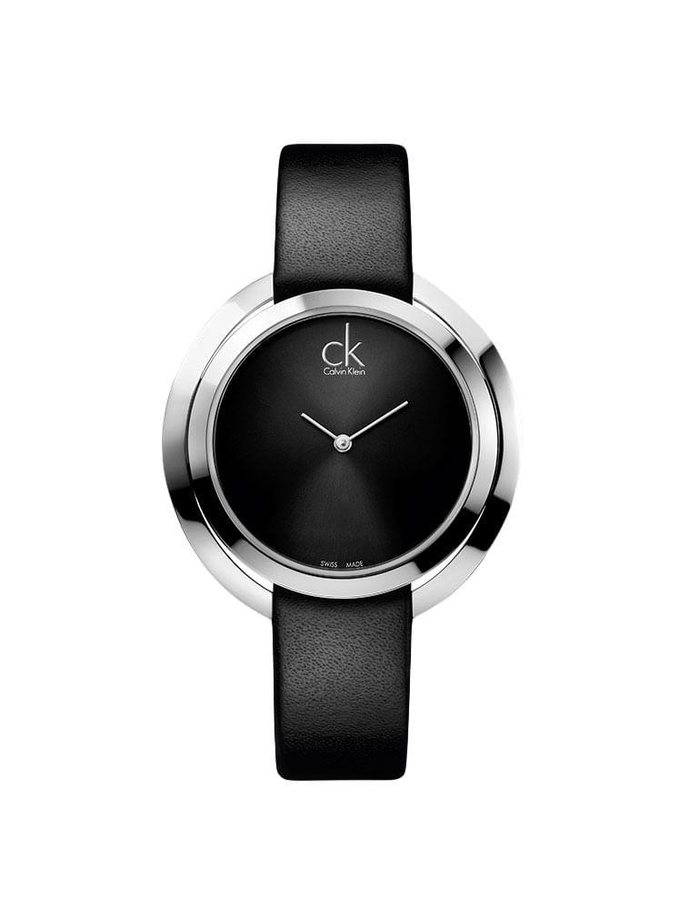Relógio Calvin Klein Pulseira De Couro Preto - Calvin Klein 186cf2e2c0