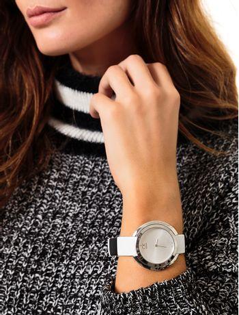 Relógio Calvin Klein Pulseira De Couro Branco - Calvin Klein a687a4a573