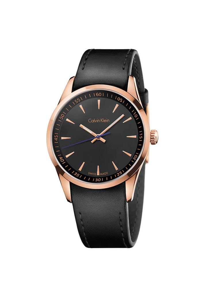 7fb0cf4ffd1 Relógio Calvin Klein Com Pulseira De Couro Preto - Calvin Klein