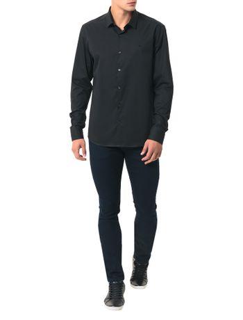 Camisa-Basica-Regular-Calvin-Klein-Cannes-De-Algodao-Preto