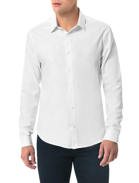 Camisa-Slim-Calvin-Klein-Branco