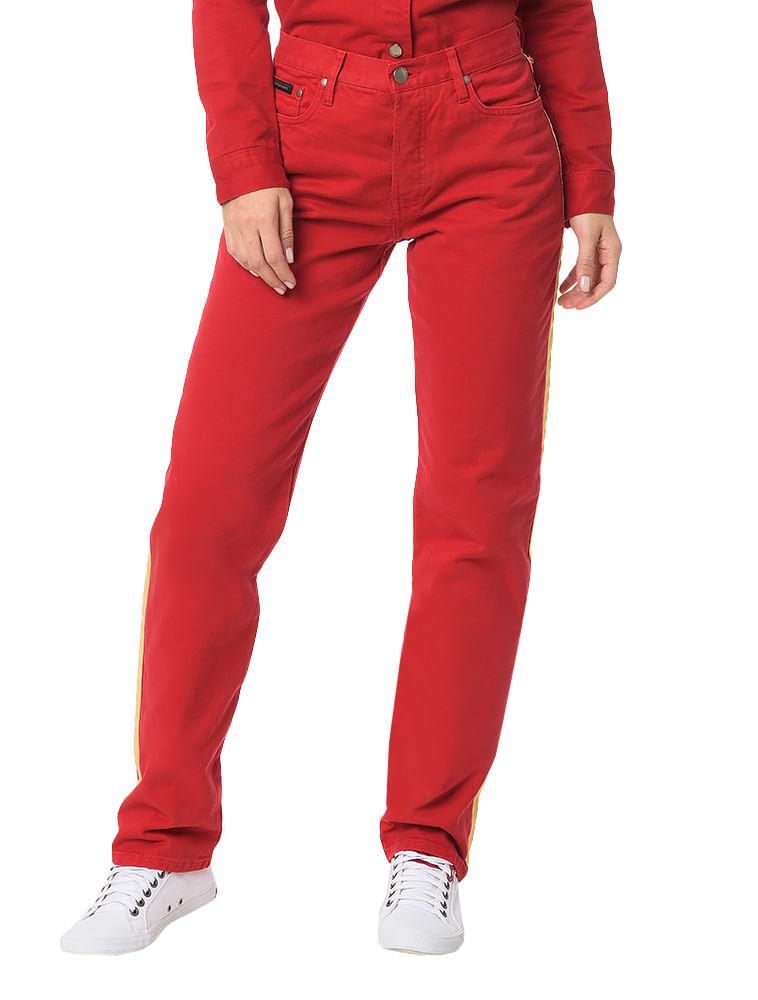 Calça Color Calvin Klein Jeans 5 Pckts Straight High Vermelho ... 071c8662ed