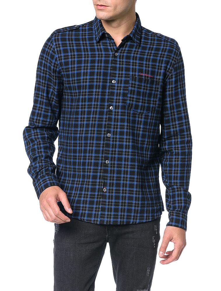 Camisa De Lã Xadrez Calvin Klein Jeans Marinho - Calvin Klein ef0e32800a