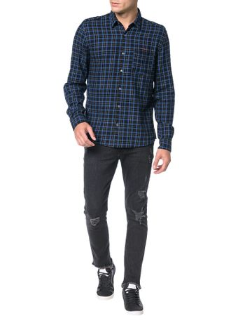 Camisa-De-La-Xadrez-Calvin-Klein-Jeans-Marinho