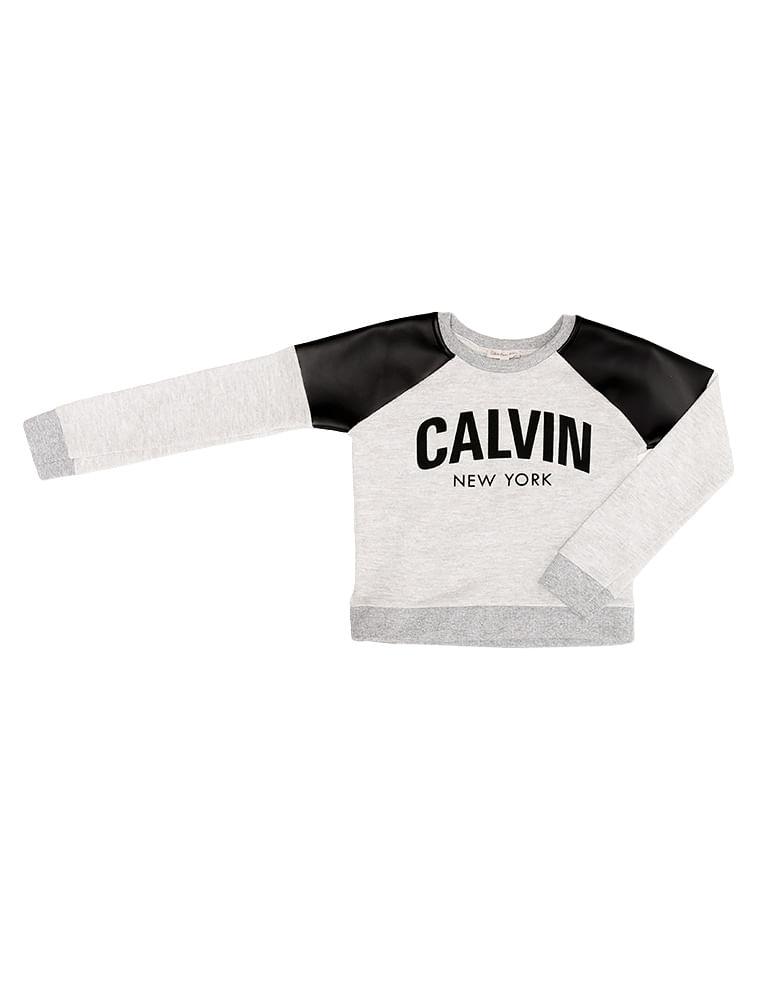 85cb77c0fc9ab Blusa Infantil Calvin Klein Jeans Recortes Cirré Mescla - Calvin Klein