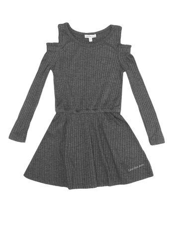 Vestido-Infantil-Calvin-Klein-Jeans-Abertura-No-Ombro-Chumbo