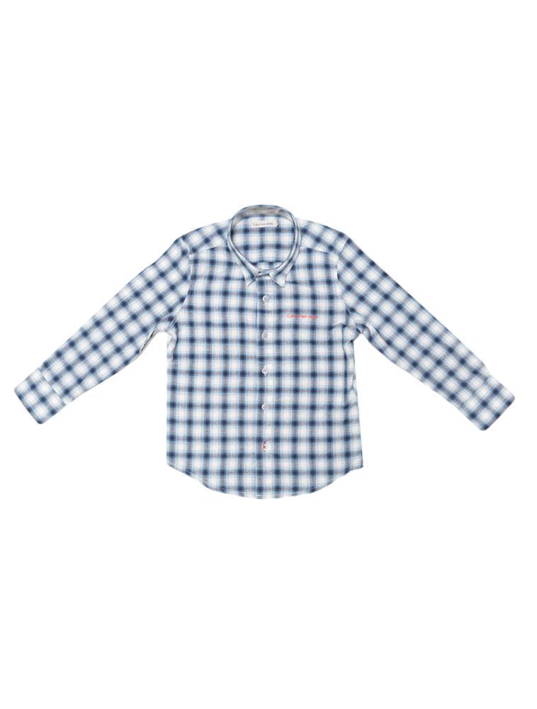 004b64b60d32ea Camisa Infantil Calvin Klein Jeans Xadrez Mescla Azul Royal