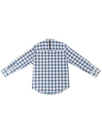 5eb90aeec4 Camisa Infantil Calvin Klein Jeans Xadrez Recorte E Logo Marinho ...