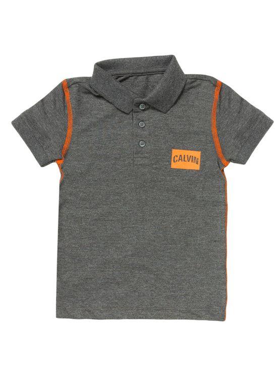 Polo-Infantil-Calvin-Klein-Jeans-Estampa-Logo-E-Costura-Contraste-Chumbo