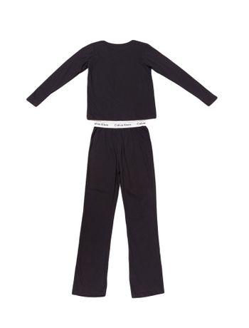 Pijama-Calvin-Klein-Underwear-Camiseta-Manga-Longa-e-Calca-De-Meia-Malha-Preto