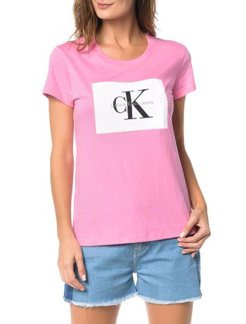 Blusa-Calvin-Klein-Jeans-Com-Etiqueta-Logo-Frontal-Rosa-Medio