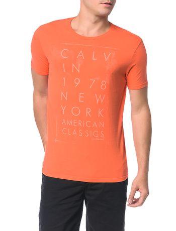 Camiseta-Calvin-Klein-Jeans-Estampa-American-Classic-Laranja