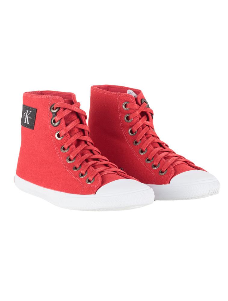 a8b600f0fff19 Tênis Calvin Klein Jeans Cano Alto Lona Re Issue Vermelho - Calvin Klein