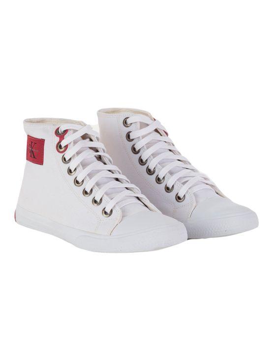 Tenis-Calvin-Klein-Jeans-Cano-Alto-Lona-CK-Re-Issue-Branco