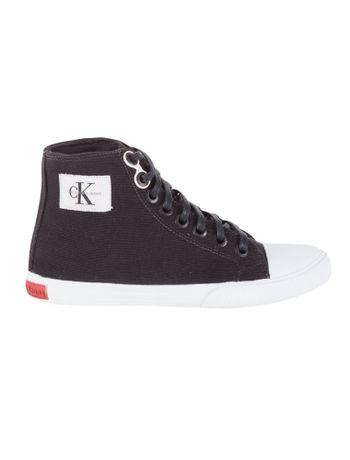 Tenis-Calvin-Klein-Jeans-Cano-Alto-Lona-CK-Re-Issue-Preto