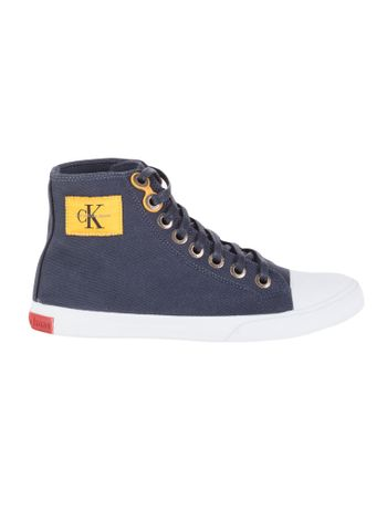Tenis-Calvin-Klein-Jeans-Cano-Alto-Lona-CK-Re-Issue-Marinho