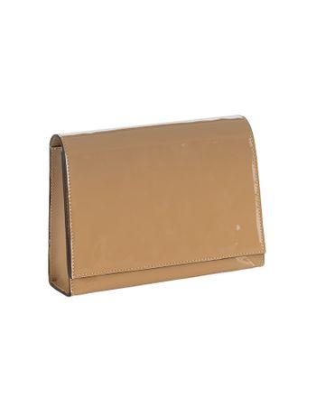 Bolsa-Pequena-Calvin-Klein-Jeans-Verniz-e-Couro-Caqui-Claro