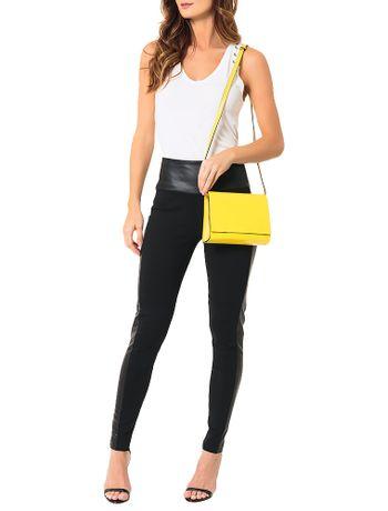Bolsa-Pequena-Calvin-Klein-Jeans-Verniz-e-Couro-Amarelo-Ouro